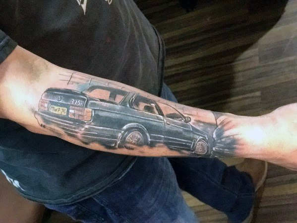 Outer Forearm Racing Bmw Tattoo Ideas For Men