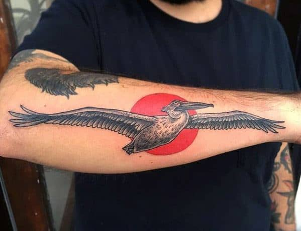 Outer Forearm Red Sun Pelican Guys Tattoo Ideas