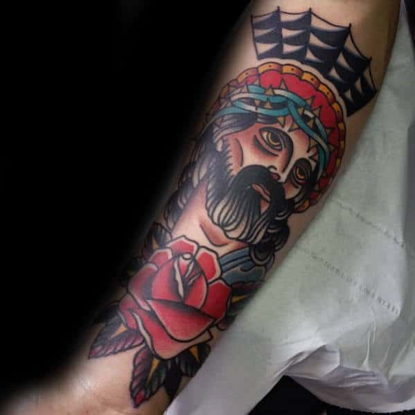Outer Forearm Retro Traditional Jesus Mens Old School Tattoos