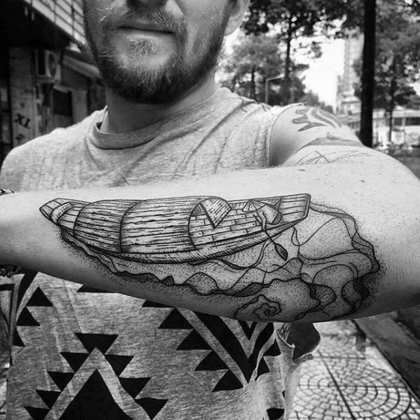 Outer Forearm River Tattoos Men