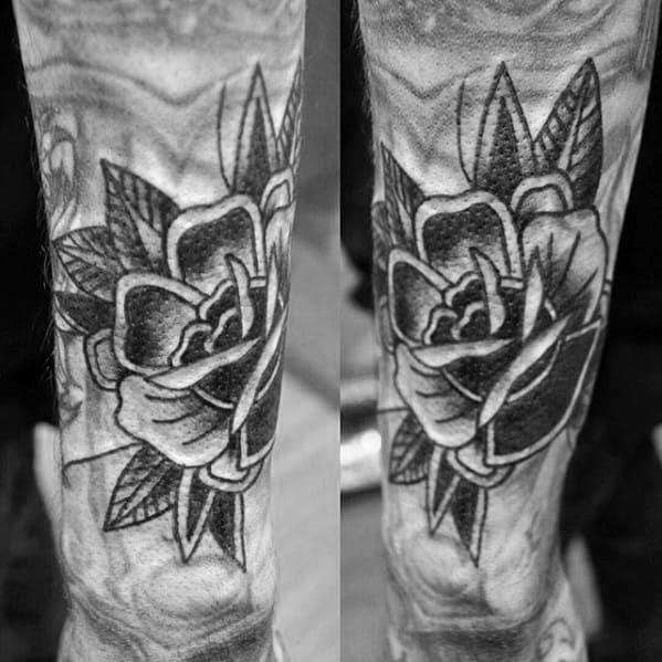 Outer Forearm Rose Flower Shaded Black And Grey Blast Over Tattoos For Males