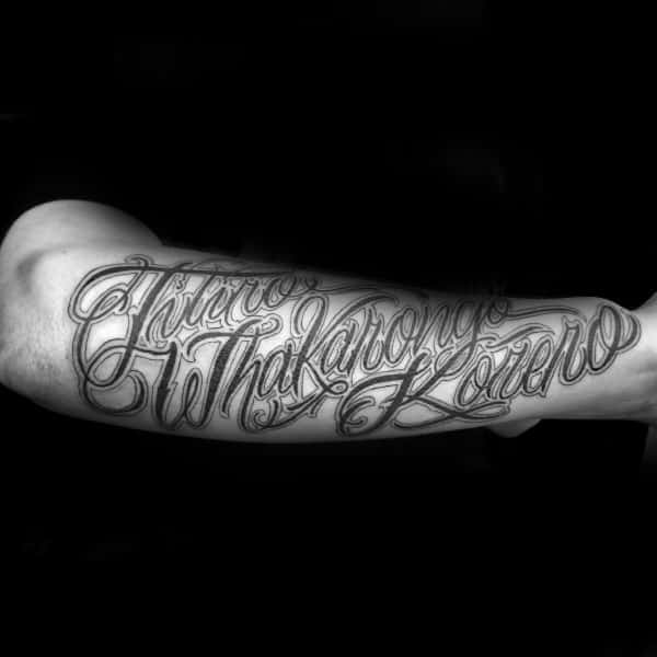 Outer Forearm Script Tattoo On Gentleman
