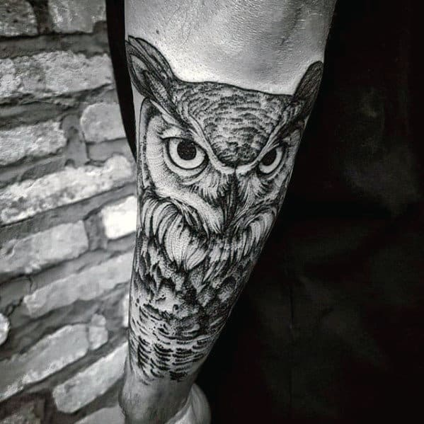 Outer Forearm Shaded Male Owl Tattoo Design Inspiration