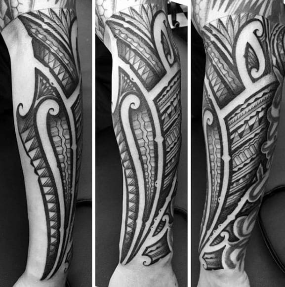 Outer Forearm Sick Mens Polynesian Tribal Tattoos