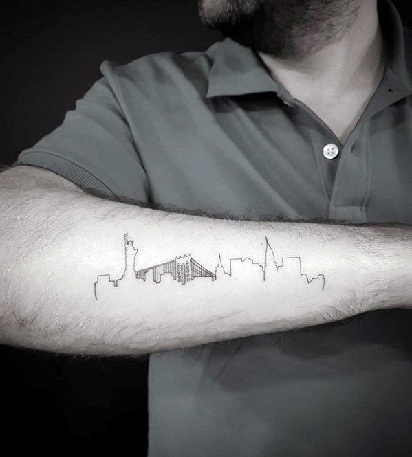 Outer Forearm Skyline Outline Simple Tattoos For Guys