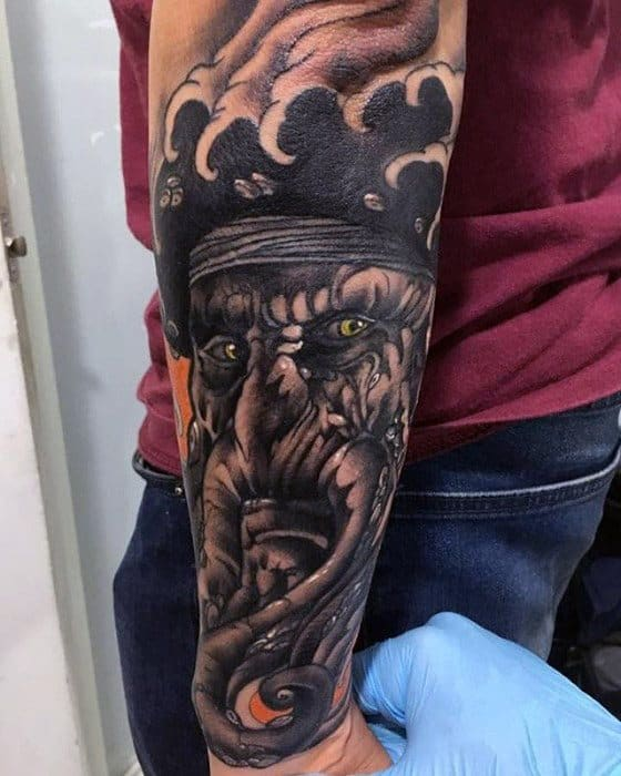 Outer Forearm Sleeve Mens Davy Jones Tattoo Design Ideas