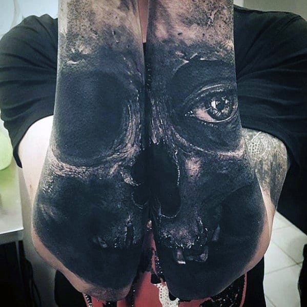 Outer Forearm Sleeve Mens Realistic Skull Tattoos