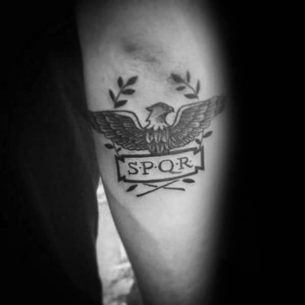 Outer Forearm Spqr Eagle Guys Tattoo Ideas