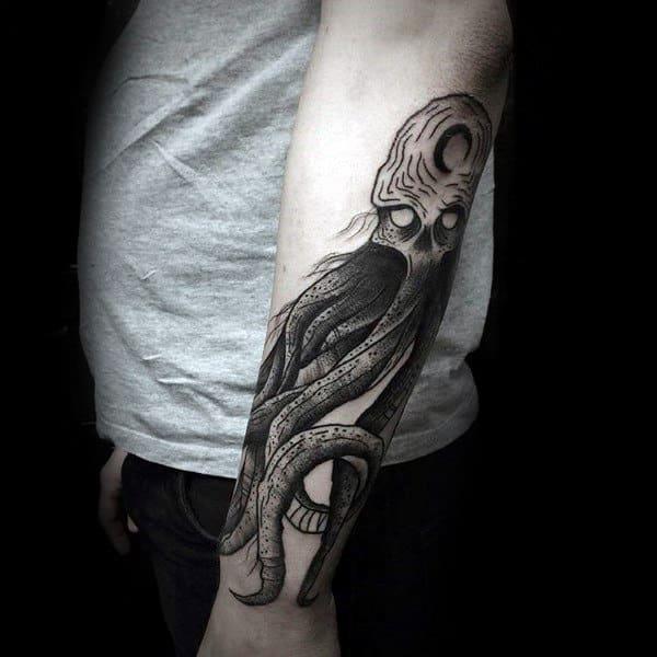 Outer Forearm Tattoo Of Kraken Sea Monster On Male