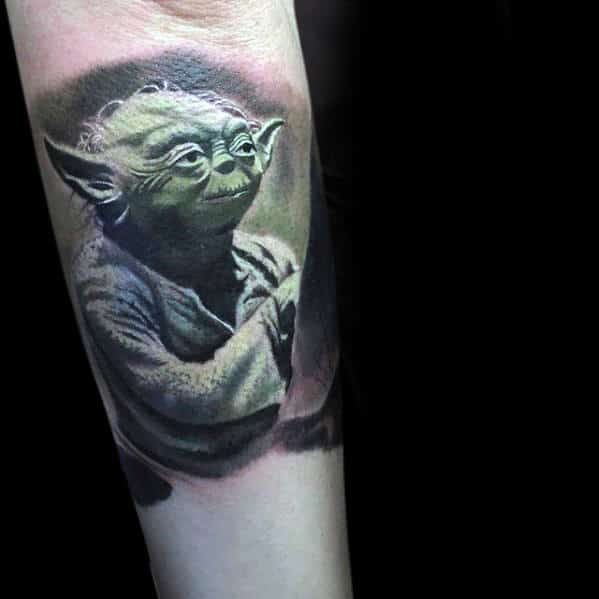 Outer Forearm Tattoo Of Yoda For Gentlemen