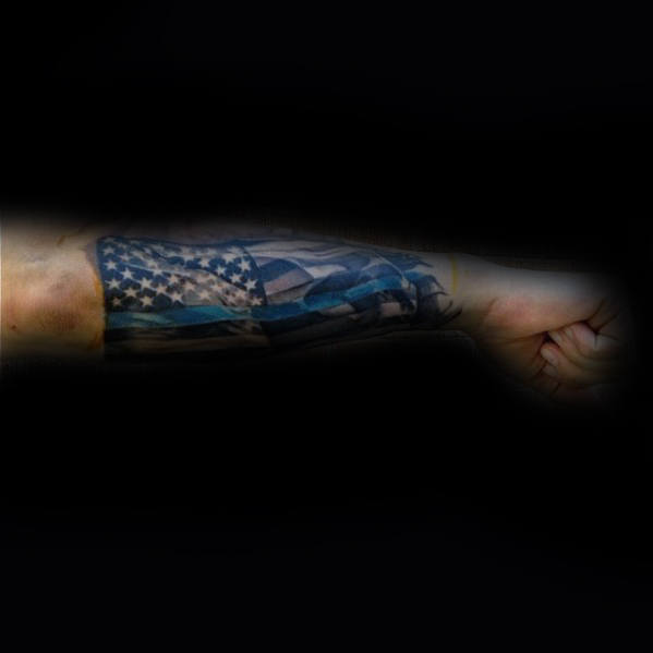 Outer Forearm Thin Blue Line Waving American Flag Tattoos For Men