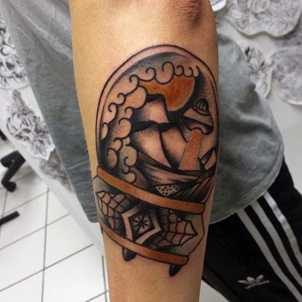 Outer Forearm Traditional Cool Male Crystal Ball Tattoo Designs