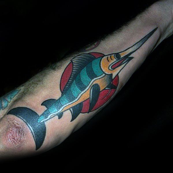 Outer Forearm Traditional Male Swordfish Tattoo Designs