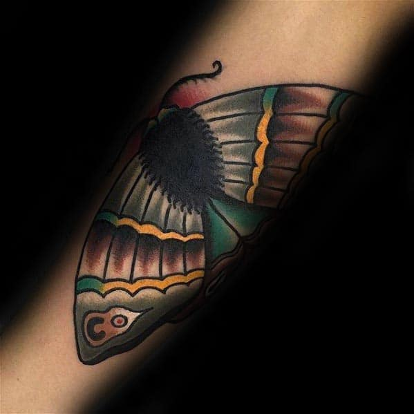 Outer Forearm Traditional Moth Tattoo Design Inspiration For Men