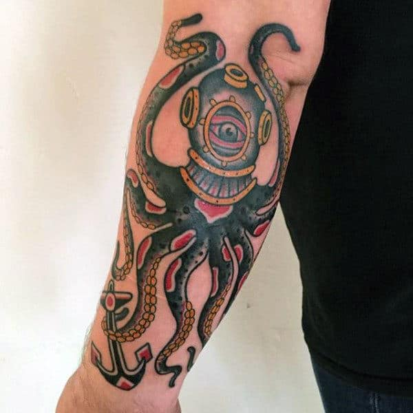 Outer Forearm Traditional Octopus Guys Tattoo Design Ideas