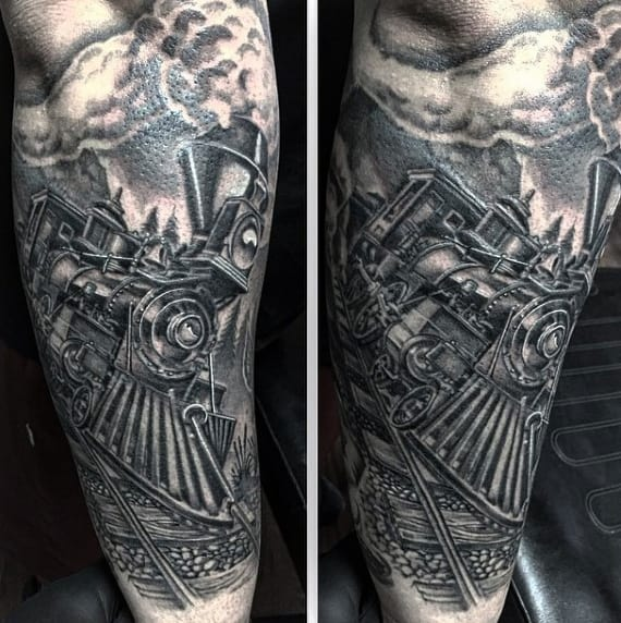 Outer Forearm Train Tattoo For Males