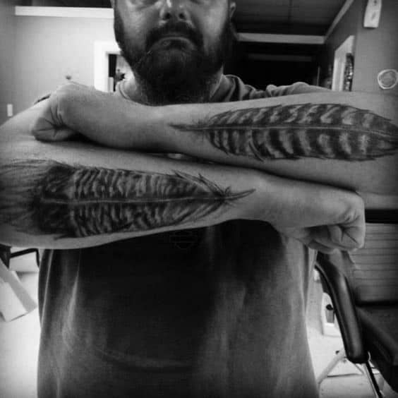 Outer Forearm Turkey Feather Tattoos For Men