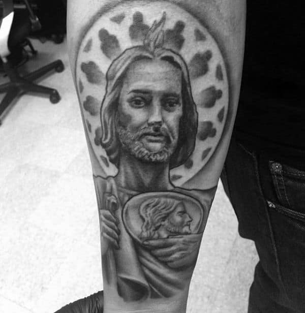 Outer Forearms Guys St Jude Tattoo With Black And Grey Design