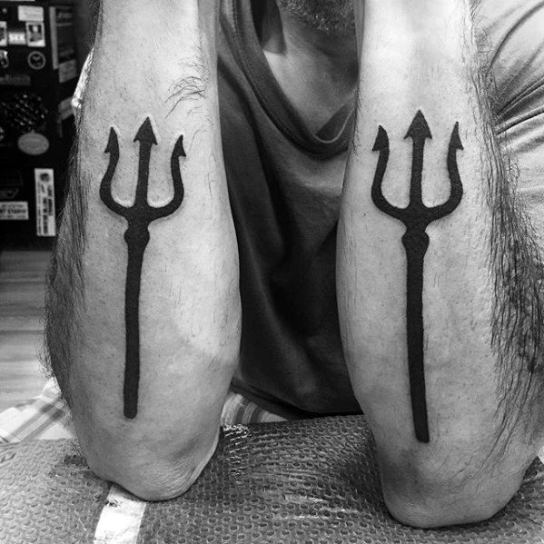 Outer Forearms Manly Trident Tattoo Design Ideas For Men