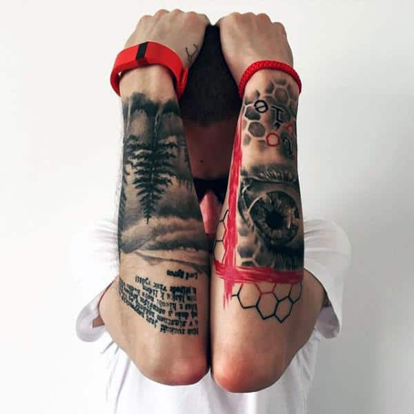 Outer Forearms Trash Polka Tattoos On Male
