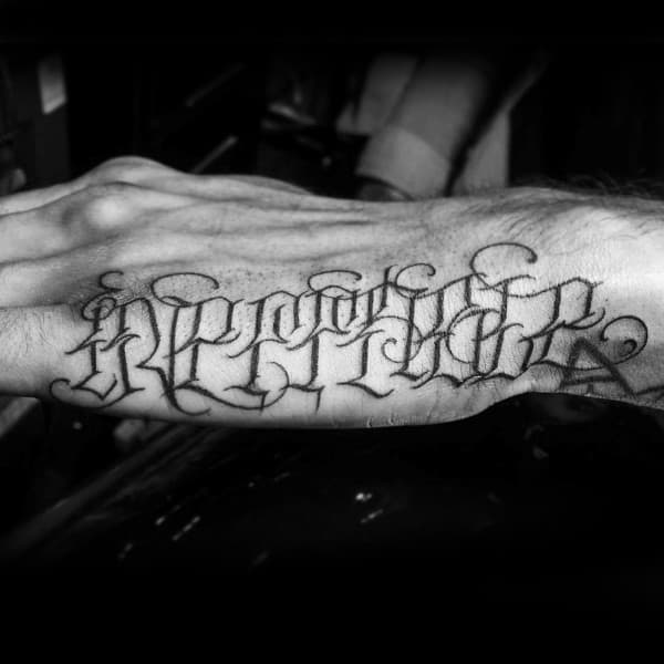 Outer Hand Script Tattoo With Decorative Lettering For Guys