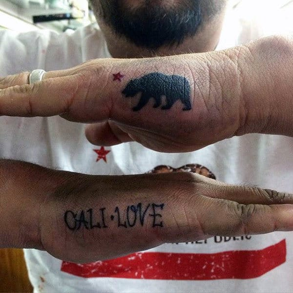 Outer Hand Side California Bear Tattoo On Man