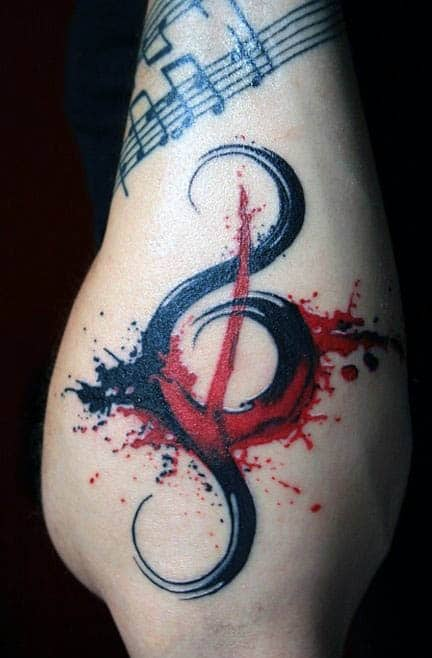 Outer Lower Forearm Male Treble Clef Watercolor Tattoos