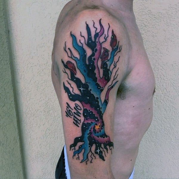Outer Space Abstract Tree With Red Cardinal Birds Mens Arm Tattoo
