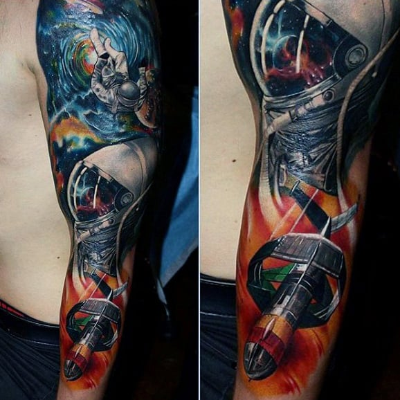 Outer Space Badass Mens Full Arm Sleeve Tattoos