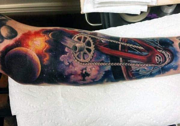 Outer Space Bicycle Guys Creative Bmx Inner Arm Tattoo Ideas