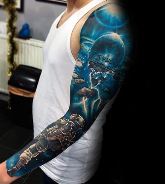 Outer Space Blue Ink Astronaut Mens Full Sleeve 3d Tattoos