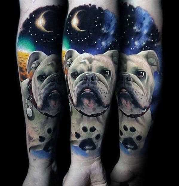Outer Space Bulldog With Paw Print Mens Forearm Sleeve Tattoo