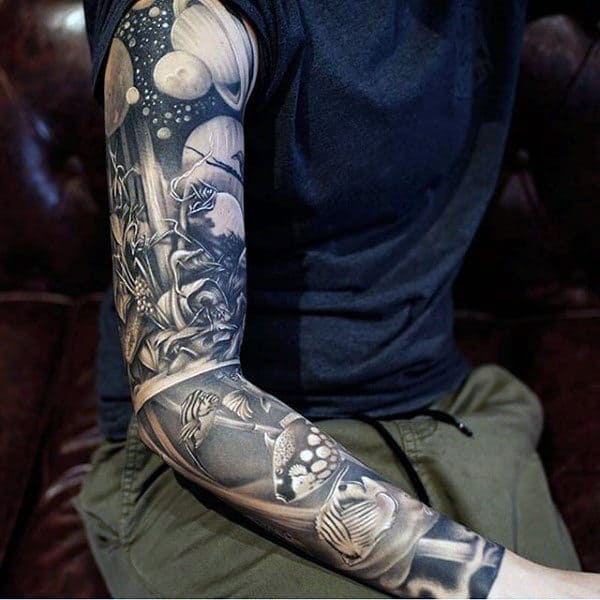 Outer Space Crazy Guys Full Sleeve Tattoos