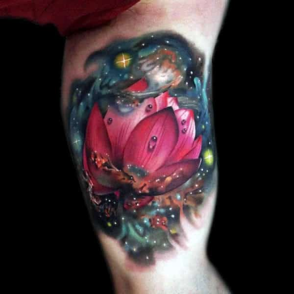 Outer Space Lotus Flower Tattoo With Realistic Design On Inner Arm