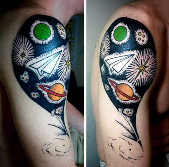 Outer Space Mens Half Sleeve Paper Airplane Tattoo Designs
