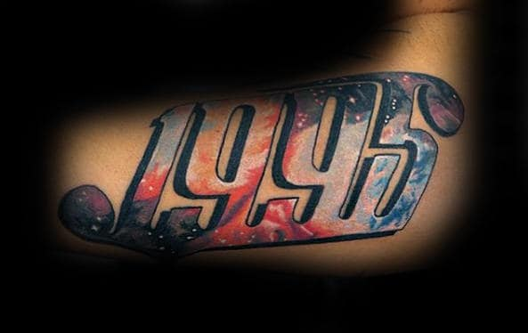 Outer Space Mens Numbers Tattoos On Arm
