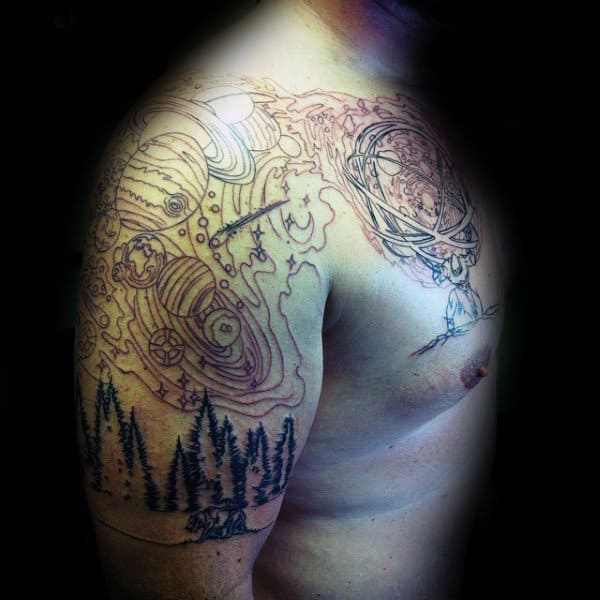Outer Space Mens Upper Arm And Chest Atlas Tattoo With Black Ink Outlines