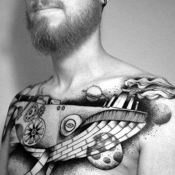 Outer Space Mens Whale Abstract Upper Chest Tattoo Ideas