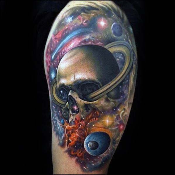 Outer Space Planets Skull Half Sleeve Rad Tattoos Guys