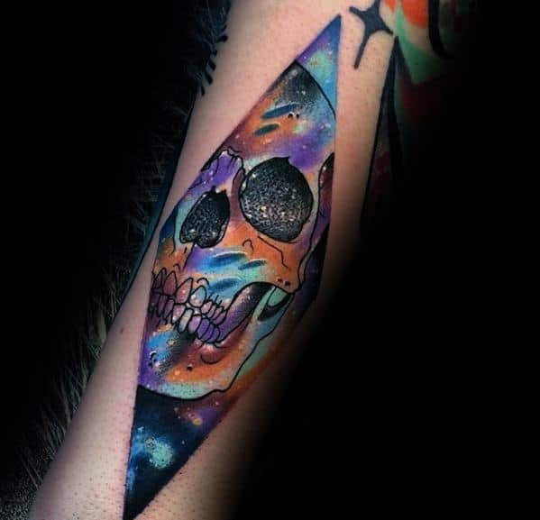 Outer Space Skull Artsy Forearm Tattoos For Men