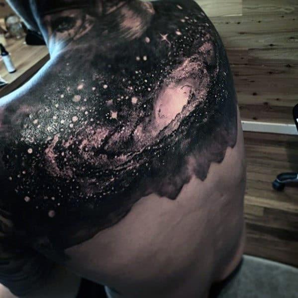 Outer Space Sky Badass Mens Upper Back Tattoos