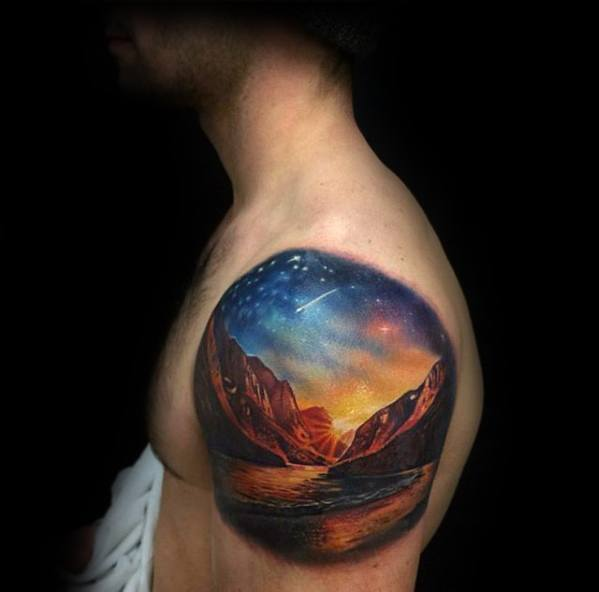 Outer Space Sky With Mountains Mens Small Unique 3d Upper Arm Tattoos