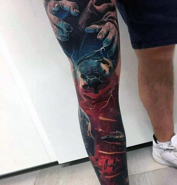 Outer Space Star Wars Unique Leg Sleeve Tattoos For Males