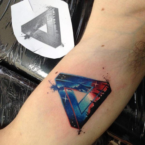 60 penrose triangle tattoo designs for men impossible tribar ideas