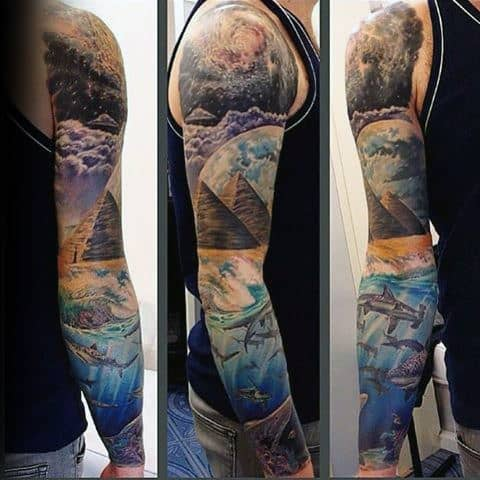 Outer Space To Ocean Depths Mens Unique Full Sleeve Tattoo