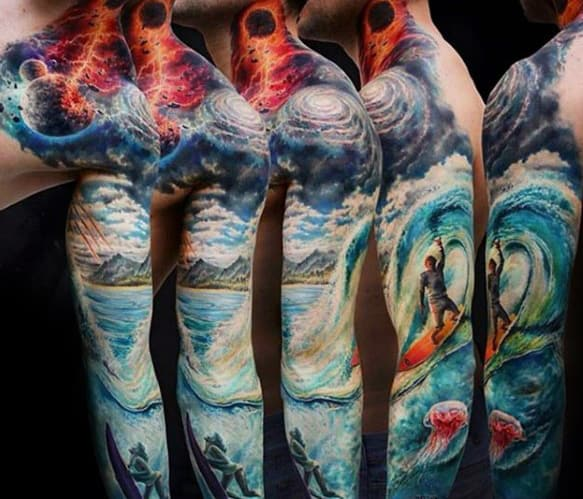 Outer Space With Earth Ocean Mens Full Arm 3d Sleeve Tattoo