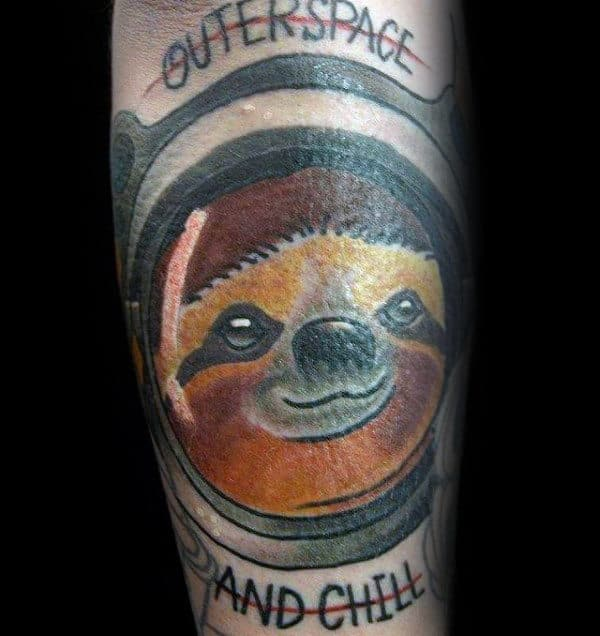 Outerspace And Chill Guys Sloth Forearm Tattoos