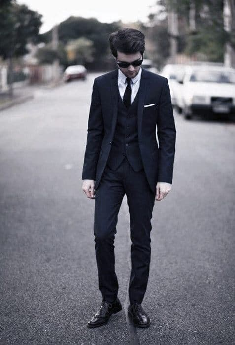 Outfit Fashion For Men Navy Blue Suit Brown Shoess