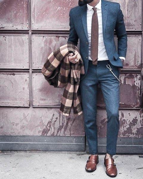 Outfit Fashion Ideas For Guys With Navy Blue Suit Brown Shoes