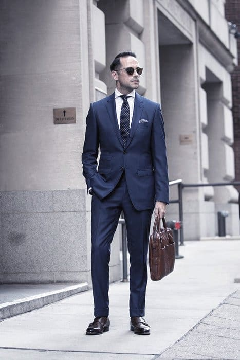 Outfit Ideas For Gentlemen Navy Blue Suit Brown Shoes Style